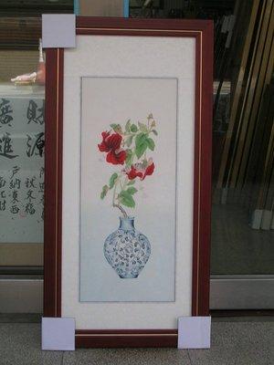 [ 丁銘畫廊 ] 花開富貴 - 紅運當頭 - 平安 富貴 - 細緻 - 純手工畫 - 國畫原作品-含框裱好價格
