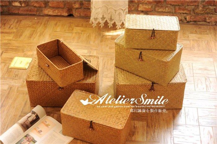 [ Atelier Smile ] 鄉村雜貨 北歐風  手工海草編織籃 收納籃 雜物籃 長方附蓋有扣 # 大 (現+預)