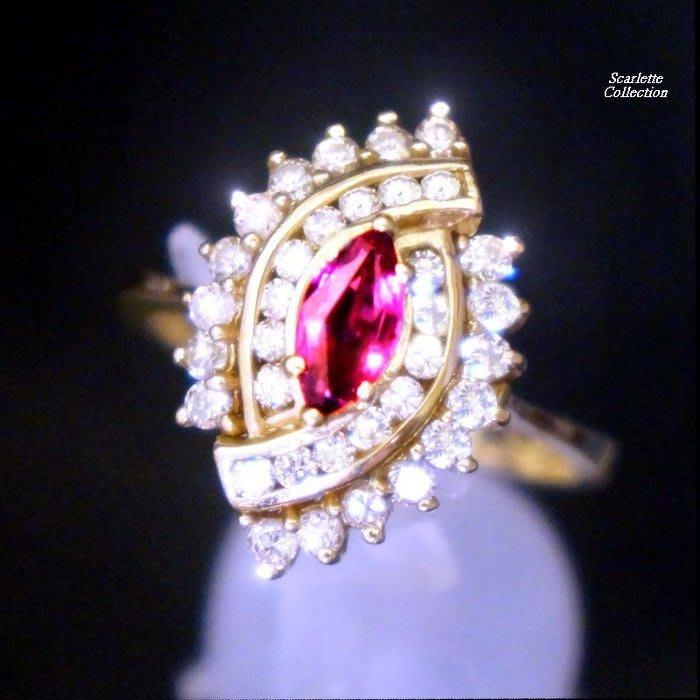 7600元含郵資賠售只給第一標(不議價)~購自Scarlette【名品館】珍藏級稀有天然變色碧璽滿鑽14k黃金鑽戒