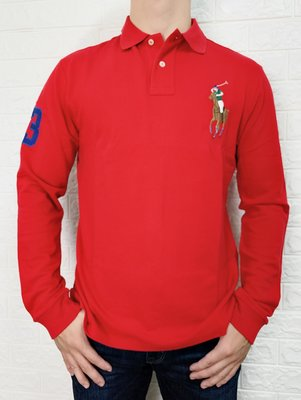 POLO Ralph Lauren 男款彩馬系列數字3 POLO衫 休閒上衣 大馬 長袖上衣