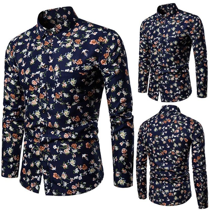 『潮范』  N4 外貿新款男士碎花印花襯衫 長袖襯衫 都市大碼襯衫 寬松個性襯衣