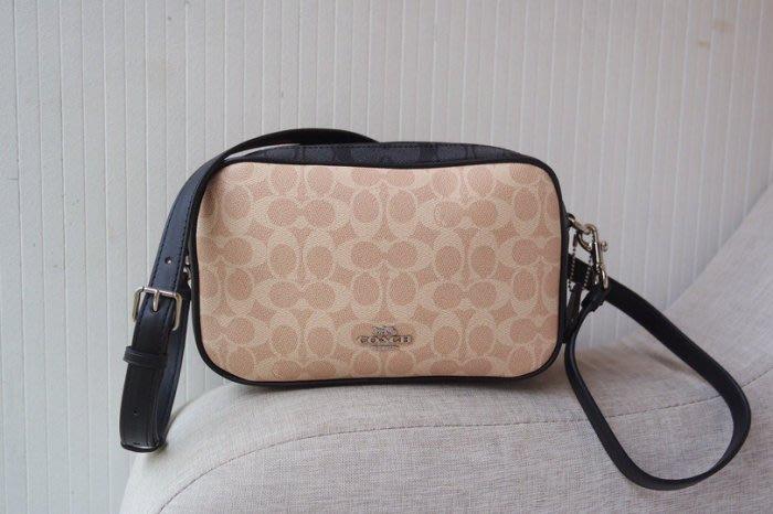 美國名品折扣店~ 特賣 COACH 91077 新款拼色雙拉鏈相機包 女式單肩包 斜跨包 雙層側背包