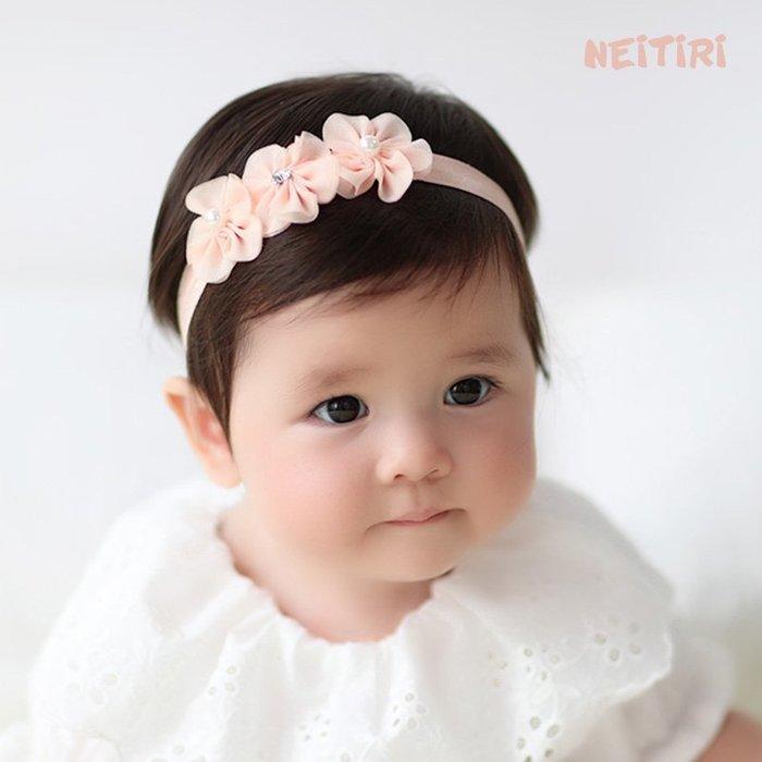 ☆草莓花園☆B57兒童髮帶 蕾絲網紗縫花花朵 兒童髮飾  百天照頭飾 嬰兒髮帶 髮冠 皇冠 造型周歲照 藝術照