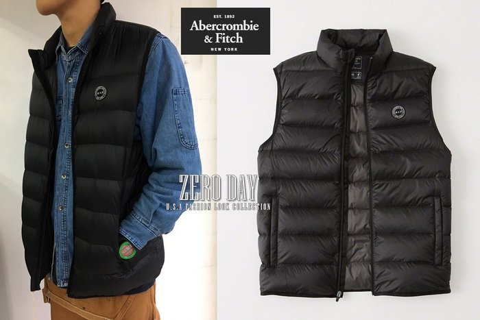 A&F真品Abercrombie&Fitch DOWN-FILLED PACKABLE PUFFER VEST羽絨背心黑