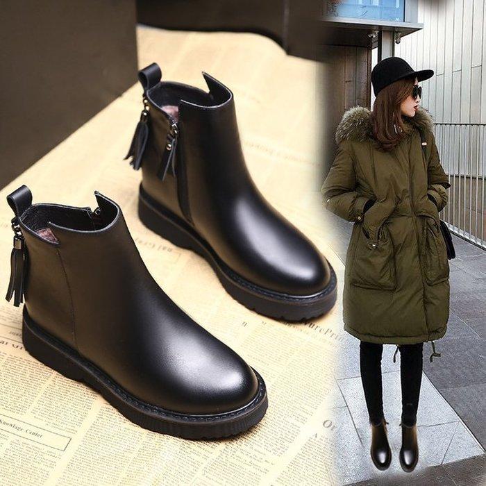 【超值】馬丁靴馬丁靴女2018秋冬新款英倫靴子女加絨平底側拉鏈女靴外貿女鞋短靴復古