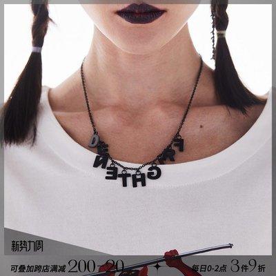 韓風專櫃飾品BLACKHEAD黑頭/設計師潮牌 FRIGHTENED字母組合吊墜鈦鋼項鍊情侶