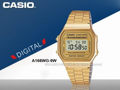 CASIO手錶專賣店 國隆 卡西歐 A-168WG  A168WG-9W 數字型金色男錶_開發票_保固ㄧ年