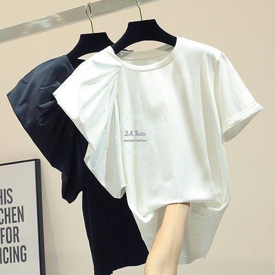 【2A Two】韓🍚簡約短袖☄顯瘦純色不對稱短袖圓領T恤『BA0360』