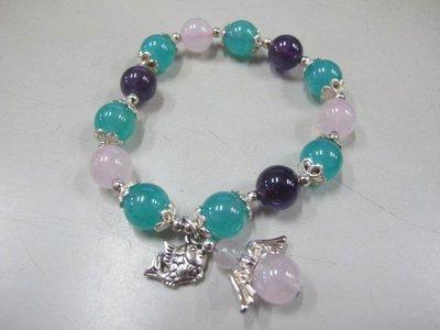 二手舖 NO.3226 紫水晶繽紛三色寶石手鍊 紫水晶 粉晶 天河石 首飾飾品