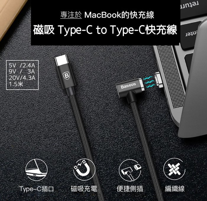 倍思 磁吸 Type-C to Type-C 快充線 1.5米 2.4a/4.3a 充電線 macbook 側插 編織線