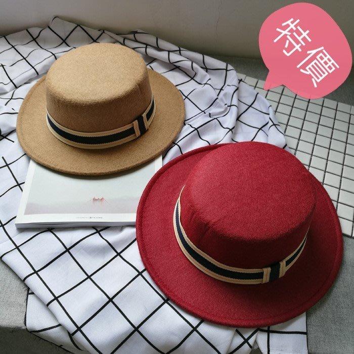 東大門平價鋪   英倫復古毛呢帽,平頂小禮帽,男女春秋出遊黑色遮陽帽,韓版休閒毛氈帽