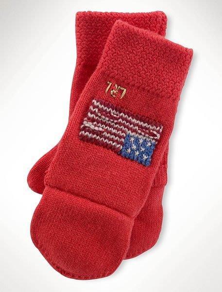 大降價!全新LAUREN Ralph Lauren經典美國國旗紅色無指混羊毛手套,低價起標無底價!本商品免運費!