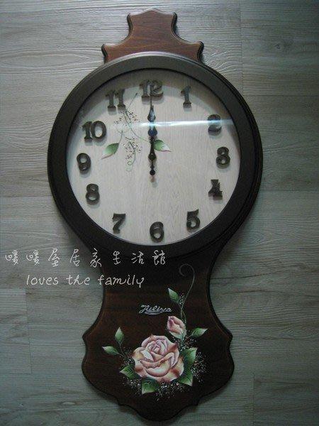 【Oo暖暖屋oO】古典風情**~~精品實木彩繪造型掛鐘、時鐘~~**