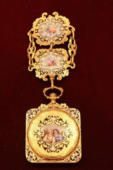【家與收藏】頂級珍藏歐洲百年古董1840年博物館級精緻華麗手繪琺瑯微型畫古董18K金仕女珠寶珠寶綴鍊/懷錶/袋錶