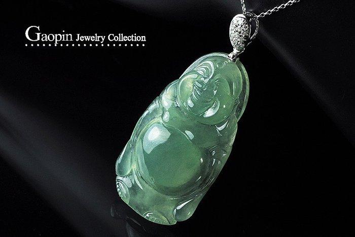 【高品珠寶】緬甸A貨冰種玻璃種藍水綠翡翠《歡喜彌勒》配鑲天然鑽石財神佛公14K項鍊墜子J123 ♥精品現貨 ♥