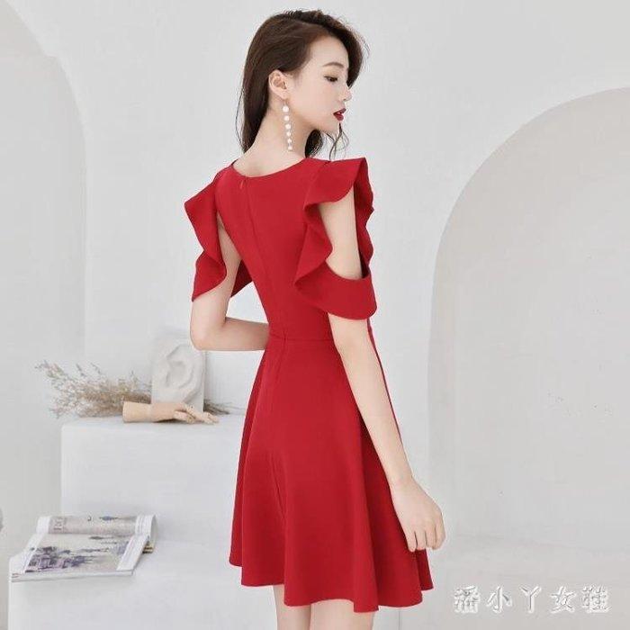 小禮服 中大尺碼新娘冬季 顯瘦結婚新款秋季答謝宴洋裝女紅色短款 df5407- -獨品飾品吧☂