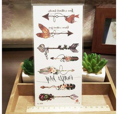 【萌古屋】綜合花朵羽毛箭頭 - 男女防水紋身貼紙刺青貼紙K19
