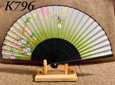 K796日式真絲印花扇子21公分精緻竹骨扇子【麗子精品公司扇子的家】日式扇子批發零售