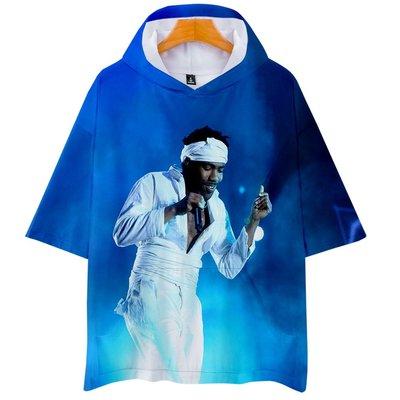 高歌@潮貨基地 兒童 唐納德·格洛沃 Childish Gambino 3D數碼印花帶帽短袖T恤