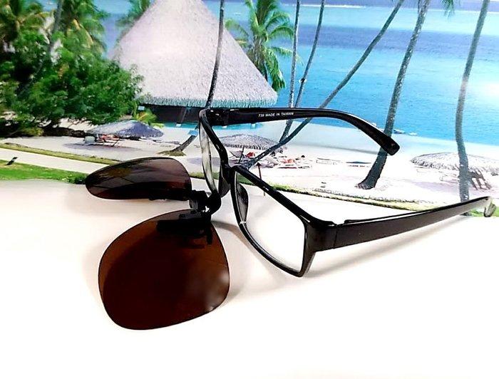 天王星精品  偏光太陽眼鏡夾片 飛行員款(方) 55MM 掛式太陽眼鏡  偏光夾片/ 夾式太陽眼鏡 今夏必備 開車 休閒