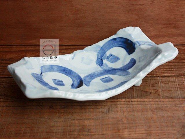 +佐和陶瓷餐具批發+【XL070917-3染付三足長皿-日本製】日本製 長皿 角皿 造型皿 和食食器 餐具