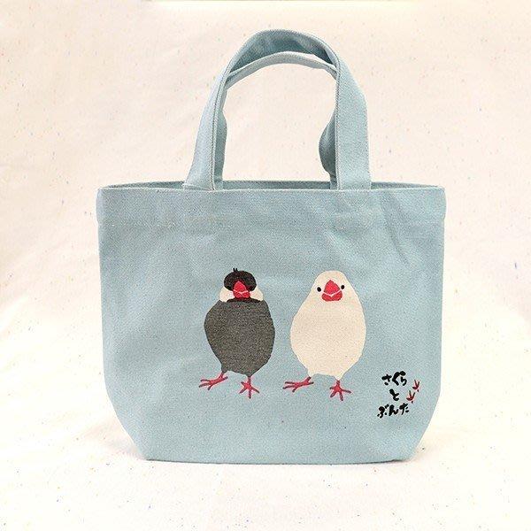 【露西小舖】日本鳥類款迷你大帆布手提袋帆布手提包帆布購物袋環保購物袋(日本平行輸入)