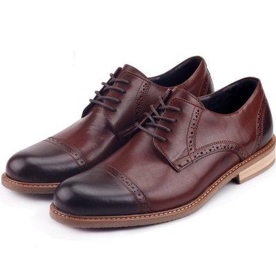 男款 義式復古煙燻打蠟雕花木紋跟 MIT手工真皮鞋 牛津鞋 紳士鞋 尖頭鞋