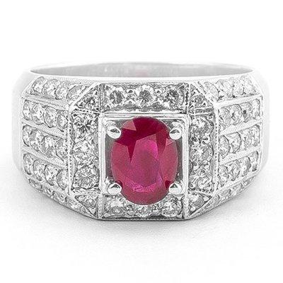 【JHT 金宏總珠寶/GIA鑽石專賣】1.00ct天然紅寶鑽石戒指/材質:18K(R00010)