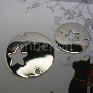 琥珀貓~【925純銀材料配件】連結配件~A0372~星星~15mm~一個