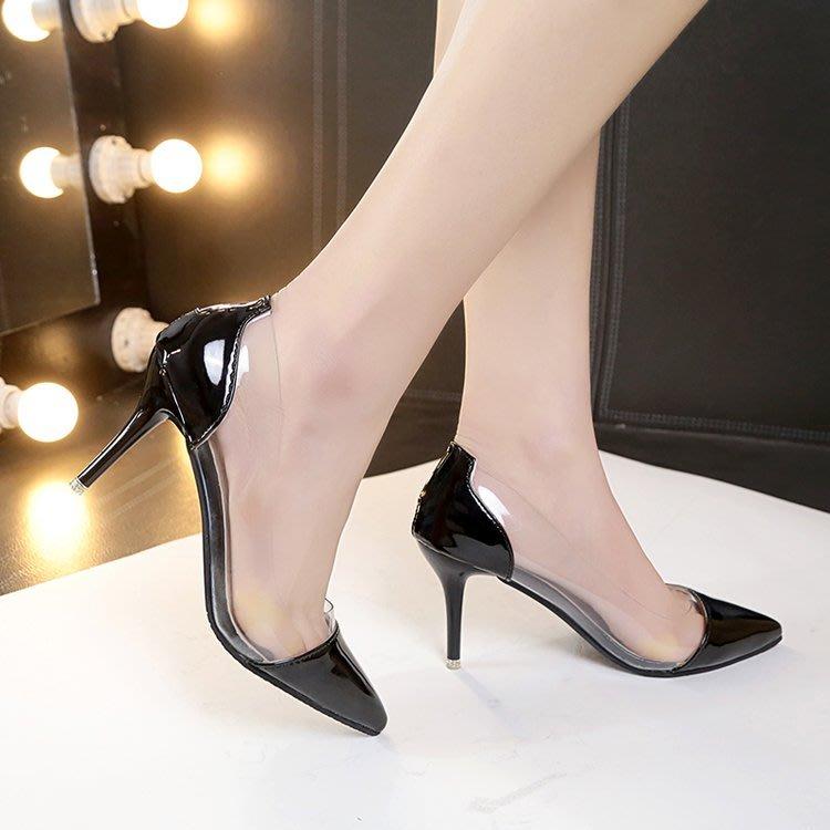 涼鞋 歐美透明裸色尖頭高跟鞋子性感細跟淺口小清新單鞋女尖圓方正韓頭休閒涼拖鞋
