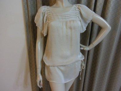 AJ衣飾 專櫃AFTER ALL  荷葉袖線條織紋 低腰雪紡洋裝 連身裙 長版衣1b-3-01
