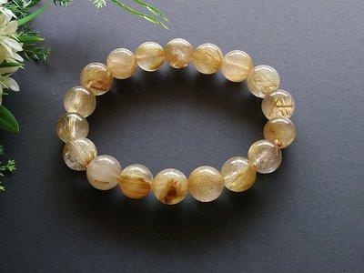 簡單Simple。現貨。10200號巴西天然板絲鈦晶金髮晶黃髮晶手串手珠手鍊。12MM。
