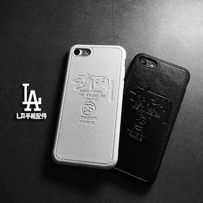 情侶潮牌stussy皮質手機殼iPhoneX iphone7/8Plus蘋果6splus男女款矽膠軟殼套 保護殼 保護套JN