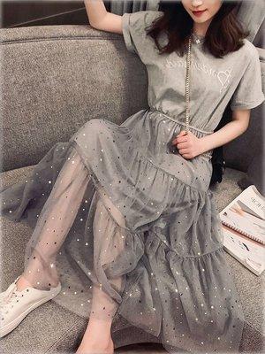 孕婦必備 哺乳衣外出夏季時尚辣媽款產后拼接亮片網紗中長款顯瘦喂奶連衣裙