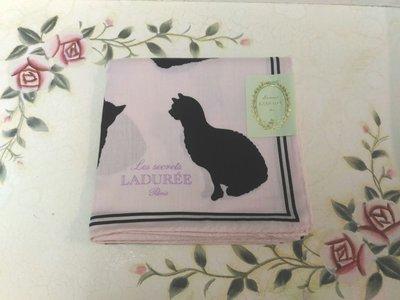 LADUREE 粉紅色底 貓咪 圖案 手帕領巾方巾絲巾 日本帶回