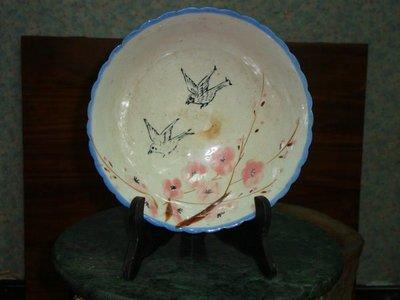 典藏級的一塊台灣古早彩繪花鳥的老碗(收藏級的)
