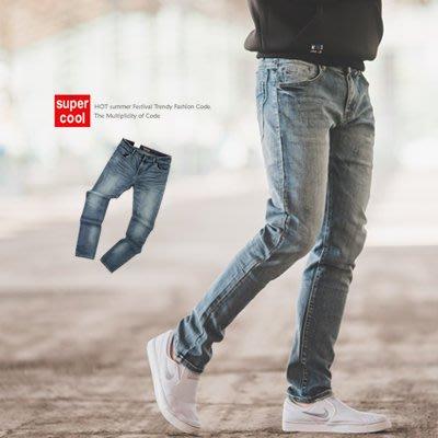 柒零年代【N9800J】經典素面簡約刷色小直筒牛仔褲(HO-KR8013)
