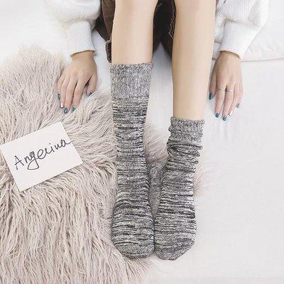 新款 秋冬天女士加厚毛巾襪中筒全棉厚款堆堆襪日系復古保暖