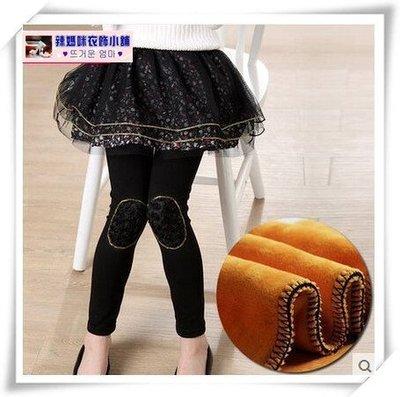 •*~ 辣媽咪衣飾小舖 ~*•❤童裝系列❤N940247韓版大童碎花假二件加絨加厚裙褲