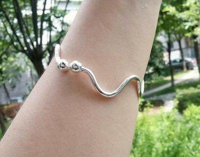 嗨,寶貝銀飾珠寶* 925純銀☆999純銀 時尚 造型 波浪形實心開口純銀手環 手鐲