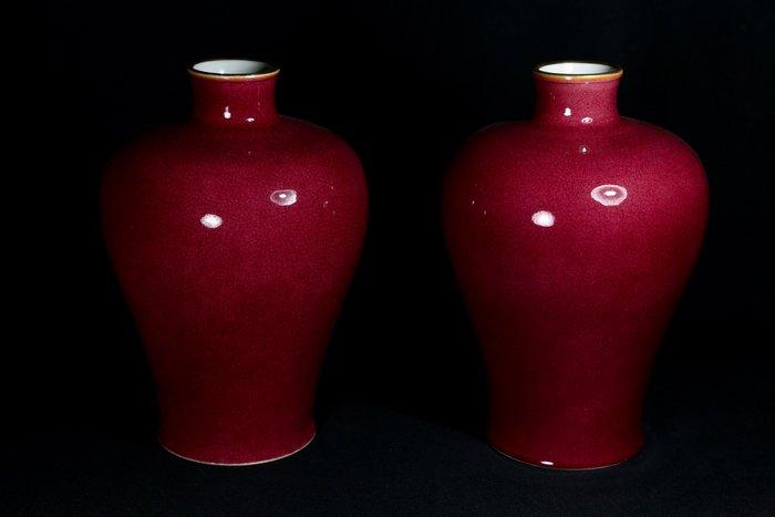 《博古珍藏》清雍正.寶石紅釉梅瓶一對.高33公分.老件花瓶瓷器.非琺瑯彩粉彩青花釉裡紅茶壺茶杯碗盤罐.底價回饋