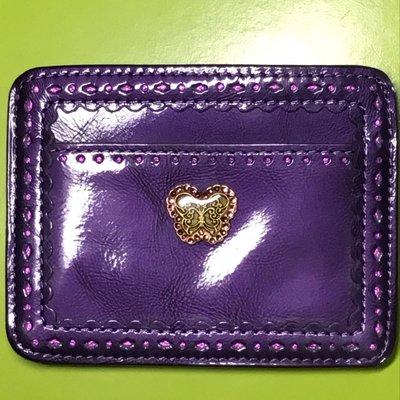 Anna Sui全新正品真皮亮紫色水鑽蝴蝶亮面紫照片票卡夾
