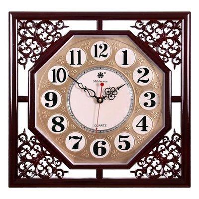 哆啦本鋪 中國風掛鐘客廳方形復古創意新中式家用電子石英鐘表日歷時鐘掛表 D655