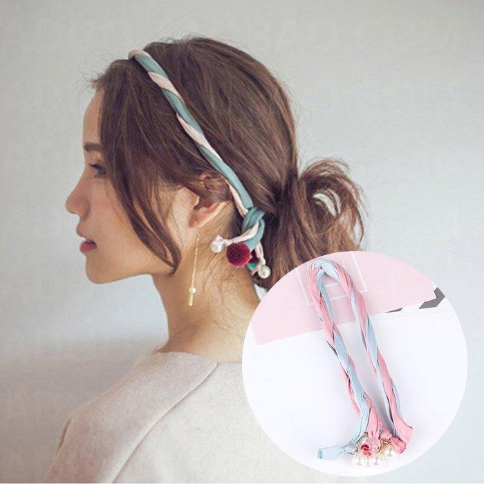 售完~小桃子 韓國版 進口 髮飾 波西米亞 珍珠配飾雙色緞帶髮帶 鐵絲 現貨當天出