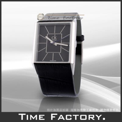 【時間工廠 】Calvin Klein Angular方型系列紳士款(黑面) K9621102