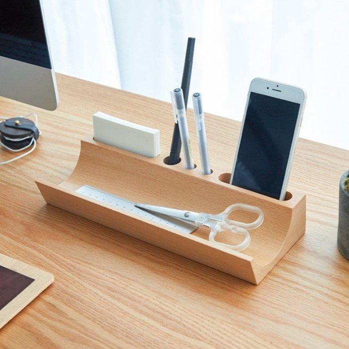 筆筒桌面收納置物架文具整理盒辦公室用品(櫸木款)_☆找好物FINDGOODS☆