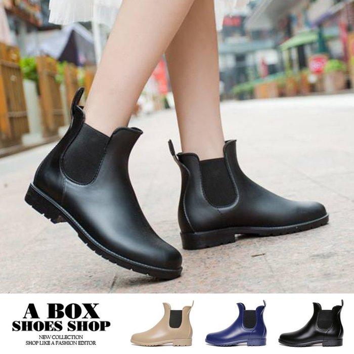 格子舖*【AR902】下雨天也有型 韓版簡約質感霧面 鬆緊穿脫帆布鞋造型超防水雨鞋 雨靴  3色