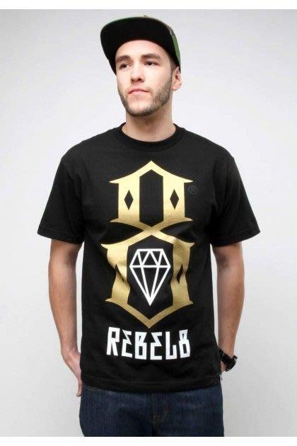 REBEL8 - Gold Logo Tee 金色印刷-重機 哈雷 刺青 單速車 滑板 饒舌 嘻哈