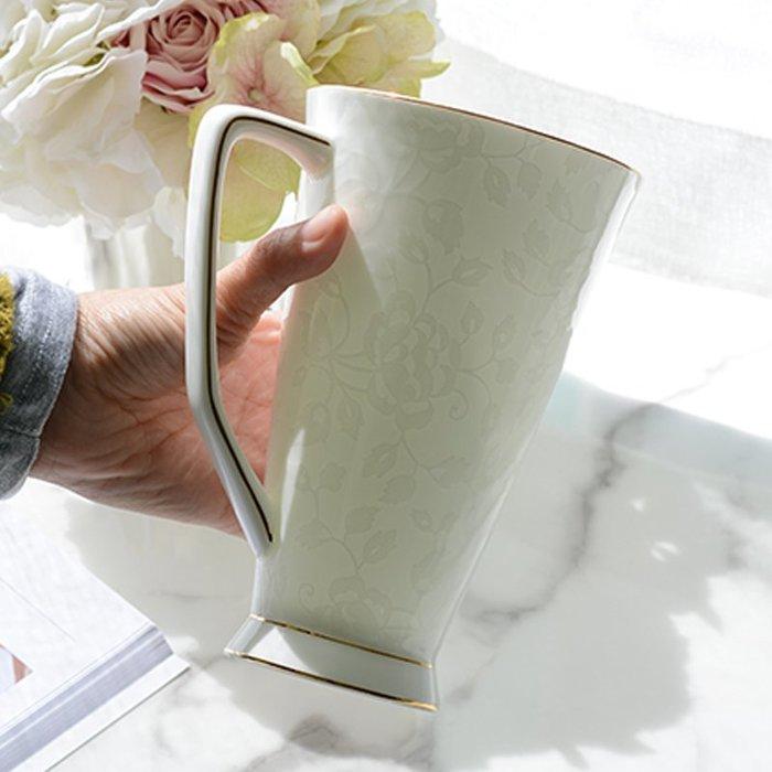 骨瓷馬克杯帶蓋勺白大號簡約創意個性水杯咖啡杯子陶瓷早餐骨瓷杯