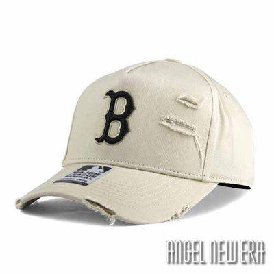 【PD帽饰】【MLB Old Fashioned Cap】波士頓 紅襪 米白 破壞布 卡車帽 老帽【ANGEL NEW ERA 】